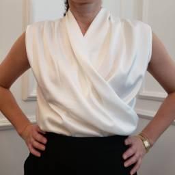 Camisa de cetim branca