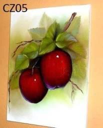 Quadro de pintura a mão fruta 25 x 25 cm
