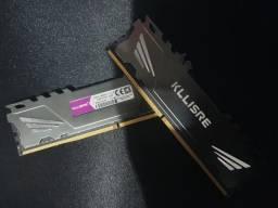 Memória RAM Kllisre 8GB, 4GB x 2, 2400mhz CL14 com dissipador!