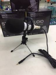 Microfone Condensador Tripé de Mesa