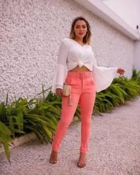 Calça Skinny de Malha Prada com Cinto e Zíper