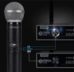Microfone Duplo UHF Novo