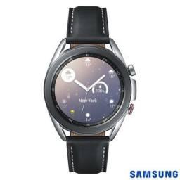 """Galaxy Watch3 41mm Samsung Prata com 1,4"""", Pulseira de Couro, Bluetooth, LTE e 8GB"""