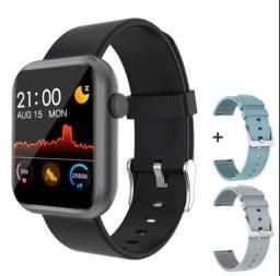 Relógio Digital Smartwatch COLMI P9 preto + 2 pulseiras adicionais