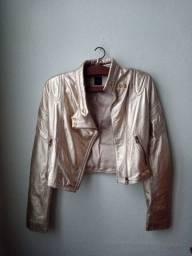 Jaqueta de couro dourada Tufi Duek
