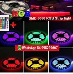 Kit fita de led rgb 5050 efeitos rolo 5 metros + central + contole fica ate 16 cores
