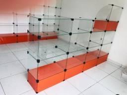 Balcão de vidro temperado, com caixa completo