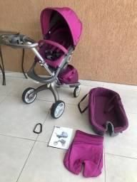 Carrinho de bebê stokke xplory + bolsa + bb conf + base carro (12x cartão)