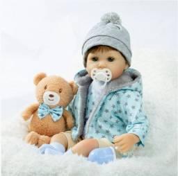 Lindo Bebê Reborn de Luxo com Ursinho de Pelúcia