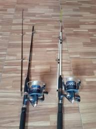 Vara de pesca com molinete de alumínio com rolamentos. Completa