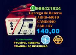 Carregador de Bateria Bivolt (110/220) pra Carro, Moto e Caminhão-12v-5ah