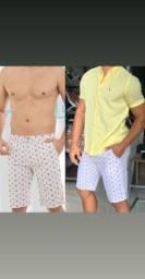 Look Masculino Completo Camiseta Bermuda Promoção