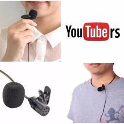 Microfone de lapela para celular, câmera e notebook