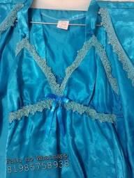 Camisola e Robe azul M para maternidade / Gestante