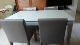 Conjunto tokstok madeira mesa com 4 cadeiras desapego entrego
