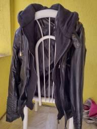 Jaqueta feminina preta de couro ecológico- tamanho P