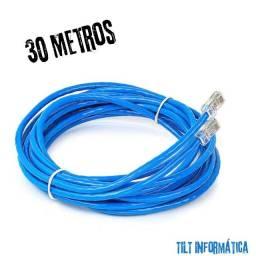 Título do anúncio: Cabo de Rede\Internet CAT5 RJ45 Pronto P\ Uso 30 Metros