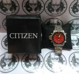 Relógio Citizen Aqualand Vermelho P/Aço Série Ouro- (100% Funcional) c/caixa premium<br><br>