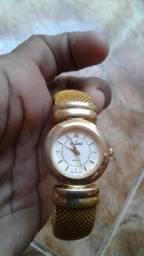 Relógio feminino dourado pulseira bracelete