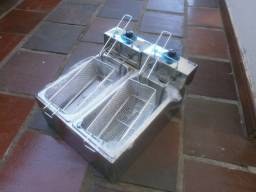 Fritadeira de bancada inox - só óleo - 2 cestos individuais - nova