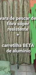 Vara de pescar fibra  e carretilha de rolamento beta de alumínio