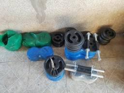 Kit 20kg em anilhas com as barrinhas 40cm (halteres) comprar usado  São Paulo