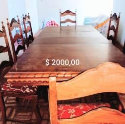 Lindo conjunto de Mesa Vintage com 8 cadeiras + Buffer. Madeira Maciça Originais