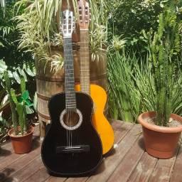 2 violões Kashima e Vogga - Violão Preto e Caramelo