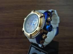 Relógio masculino dourado grande pulseira branca