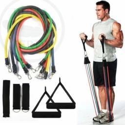 Kit Elástico extensor 11 itens musculação