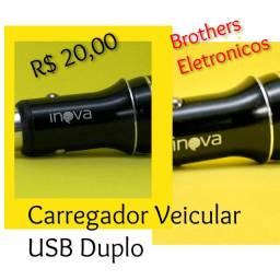 Carregador de Celular com USB duplo.