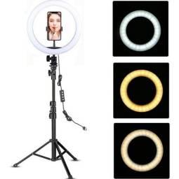 Ring Light Iluminador Anel Luz 33cm 13 Polegadas C/tripé 2,1 Foto Filmagem Profissional