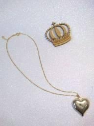 Colar Folheado de Coração Dourado