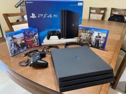 PlayStation 4 PRO com 1 controle e 4 jogos