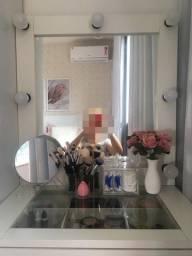 Espelho de maquiagem, porta pincel e porta cotonete