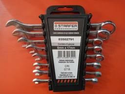 Título do anúncio: Chave combinado em aço carbono cromado com 8 peças de 6mm,7mm,8mm,9mm,10mm,11mm,14mm,17mm