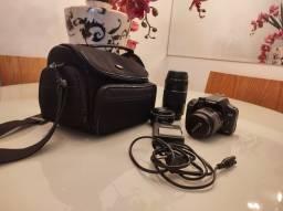 Camera Canon EOS 500D + lente EFS 18-55mm + lente 75-300mm + lente 40mm
