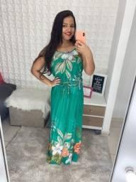 Vestido longo/ verde e laranja
