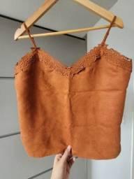 Vendo blusa de alça suede marrom tamanho P