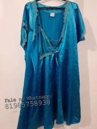 Camisola e Robe Azul Maternidade, tamanho M/ amamentação