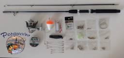 kit de pesca 170 itens + vara de pesca 1.65 mt + molinete com linha