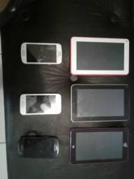 Celulares e tablet para retirar peças.