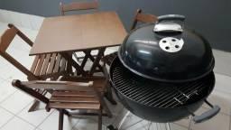 Kit churrasco - mesa + churrasqueira