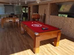 Mesa Gaveta Madeira | Mesa Imbuia | Tecido Vermelho | Internacional | Modelo: JHBR3333