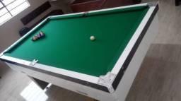 Mesa Comercial de Bilhar | Mesa Branca | Tecido Verde | Modelo: DKHI3415