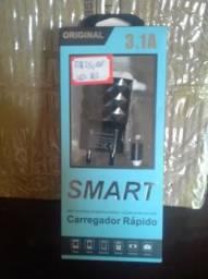 Carregador turbo para Iphone com 2 entradas USB + cabo USB