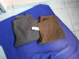 Calças request elastano cinza e marrom