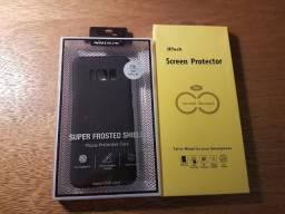 Capa Nilkin (cor preta fosca) e película para Samsung Galaxy S8