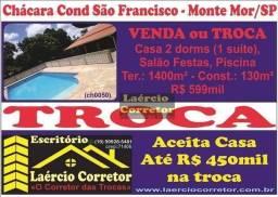 Troca (ou Vende) Chácara em Monte Mor 1458m² 130m² constr. R$ 599mil Aceita na Troca Casa