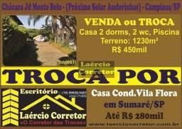 Troca ou Vende Chácara em Campinas SP, Monte Belo 1230m² terreno R$ 450mil Por Casa Vila F